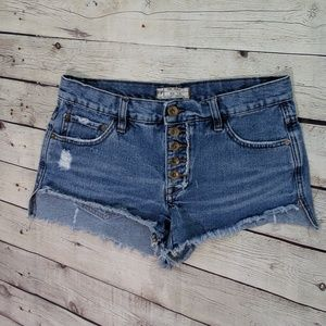 Free People Blue Jean Button Fly Shorts